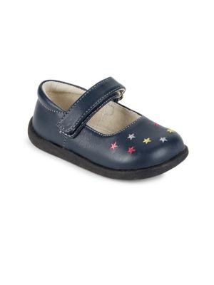Image of Classic leather Mary Jane style with embroidered stars. Grip-tape closure. Padded collar. Leather upper. Rubber outsole. Imported.