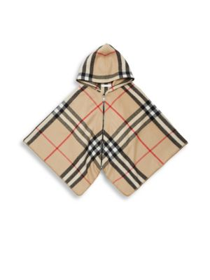 Image of .Wool-blend hooded top with plaid pattern design. .Attached hood. .Long cape sleeves. .Exposed front zip. .Wool/cashmere. .Dry clean. .Imported. .