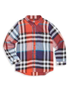 Little Boys and Boys Plaid Cotton Shirt