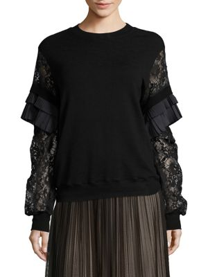 Pleat-Trimmed Lace-Sleeve Top by Clu