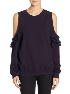 Cold Shoulder Pleated Silk Pullover by Clu