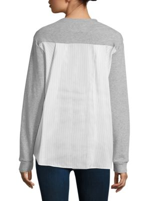 Draped Back Mix Media Pullover by Clu