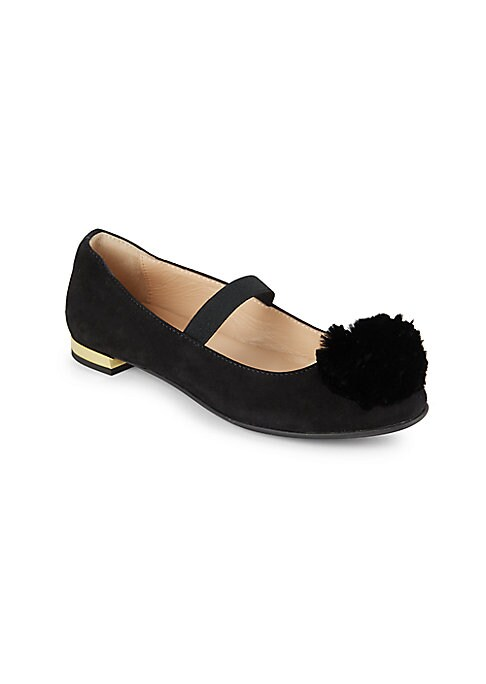 Image of Leather ballet flats with pom-pom detail at vamp. Elastic strap. Leather upper. Rubber sole. Made in Italy.