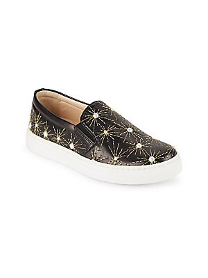 Image of Leather slip-on sneakers with pearl accents Leather upper Slip-on style Rubber sole Made in Italy. Children's Wear - Children's Shoes > Saks Fifth Avenue. Aquazzura Mini. Color: Black. Size: 28 EU/ 11 US (Child).