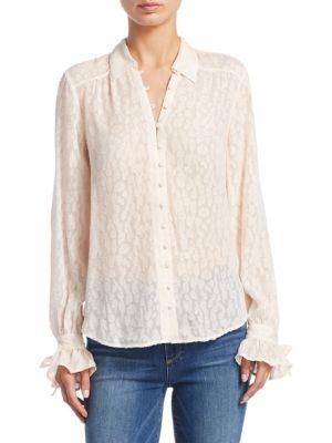 Emberly Cheetah Blush Silk Blouse by PAIGE