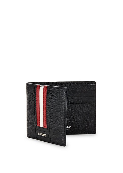 "Image of Classic bi-fold leather wallet with logo detail. One interior bill compartment. Six interior credit card slots.4.25""W x 3.75""L.Leather. Made in Italy."