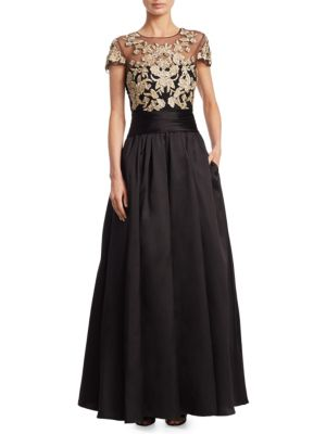 "Image of Ballgown featuring embroidered mesh lace bodice. Illusion neckline. Cap sleeves. Concealed back zip. Lined. About 60"" from shoulder to hem. Polyester/silk/soie. Dry clean. Imported. Model shown is 5'10"" (177cm) wearing US size 4."