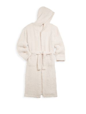 Image of Lounge in style in this comfortable cushy bathrobe. Attached hood. Long sleeves. Self-tie waist. Front hand pockets. Polyester microfiber. Machine wash. Imported.