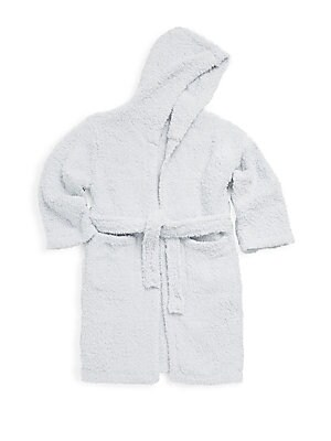 Image of Plush wrap-front robe with self-tie waist Attached hood Long sleeves Wrap front Self-tie waist Front slip pockets Polyester microfiber Machine wash Imported. Children's Wear - Layette Apparel And Acce > Saks Fifth Avenue. Barefoot Dreams. Color: Blue. Siz