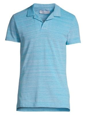 Image of Cool cotton shirt featuring a simple stripes. Spread collar. Short sleeves. Split hem. Cotton. Machine wash. Imported.