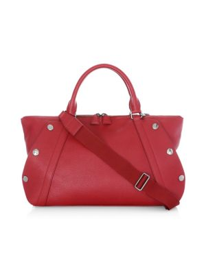 Aimee Bicolor Small Leather Satchel, Crimson