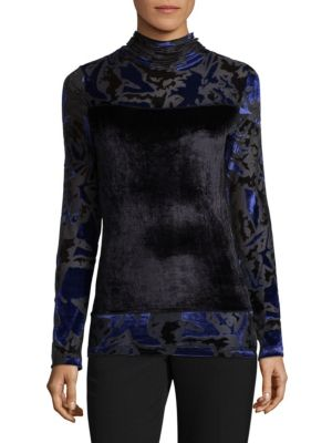 Velvet Burnout High Neck Top by Fuzzi