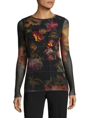 Crewneck Floral Embroidered Top by Fuzzi