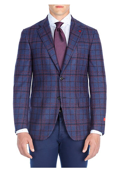 """Image of From the Saks IT LIST. THE JACKET. The wear everywhere layer that instantly dresses you up. Graphic windowpane patterns textured wool jacket. Peak lapel. Notch sleeves. Buttoned cuffs. Button front. Chest welt pocket. Waist flap pockets. About 29"""" from sh"""