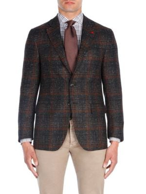 Windowpane Aqua Cashmere Jacket by Isaia