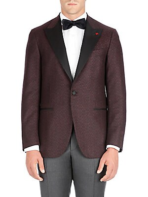 """Image of From the Saks IT LIST THE JACKET The wear everywhere layer that instantly dresses you up. Two-tone wool dinner jacket with subtle geometric motif Peak lapel Long sleeves Buttoned cuffs Button front Chest welt pocket Waist flap pockets About 29"""" from shoul"""