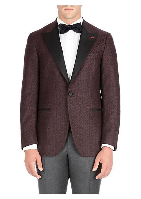 "Image of From the Saks IT LIST. THE JACKET. The wear everywhere layer that instantly dresses you up. Two-tone wool dinner jacket with subtle geometric motif. Peak lapel. Long sleeves. Buttoned cuffs. Button front. Chest welt pocket. Waist flap pockets. About 29"" f"