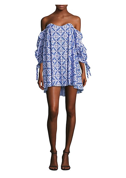 Image of Bohemian print lends a free-spirited vibe to this sensual off-the-shoulder dress. Sweetheart. Three-quarter off-the-shoulder sleeves. Self-tie elasticized cuffs. Concealed back zip. Cotton/nylon/lycra/spandex. Dry clean. Made in USA of imported fabrics. S