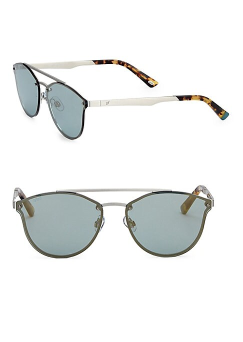 Image of EXCLUSIVELY AT SAKS FIFTH AVENUE. Double bridge metal sunglasses with logo.59mm lens width; 15mm bridge width; 140mm temple length.100% UV protection. Mirrored lenses. Adjustable nose pads. Metal. Made in Italy.