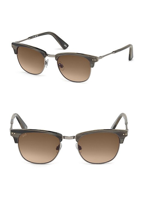 Image of EXCLUSIVELY AT SAKS FIFTH AVENUE. Metal temple brings attention to these sunglasses.20mm lens width; 51mm bridge width; 140mm temple length.100% UV protection.2-base gradient lens. Adjustable nose pads. Metal/acetate. Made in Italy.