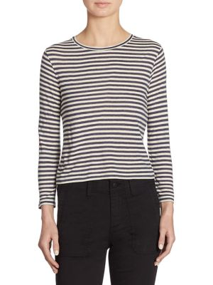 Midi Striped Cropped Tee by Vince