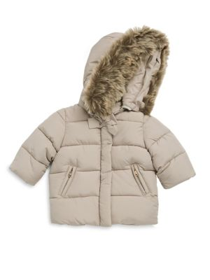Image of Faux fur trim hooded puffer jacket with front bow detail. Attached hood. Long sleeves. Concealed front zip. Front zip pockets. Polyester. Fill: Polyester. Fur type: Faux. Machine wash. Imported.