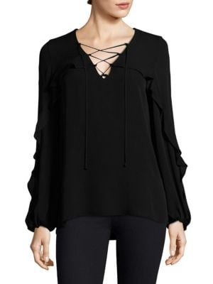 Corrie V-Neck Silk Blouse by KOBI HALPERIN