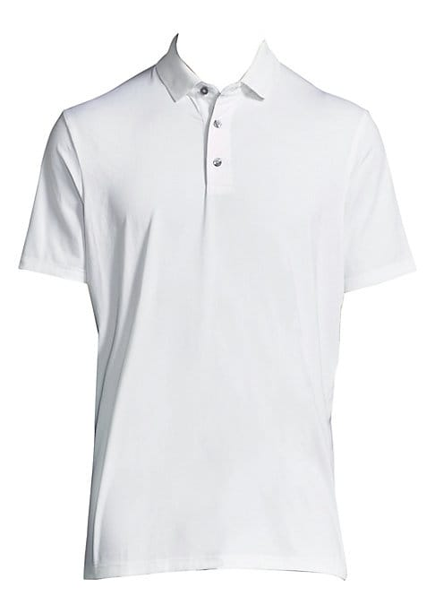 """Image of Casual essential polo with mini graphic detail. Polo collar. Short sleeves. Three-button placket. About 30"""" from shoulder to hem. Polyester/elastane. Machine wash. Imported."""