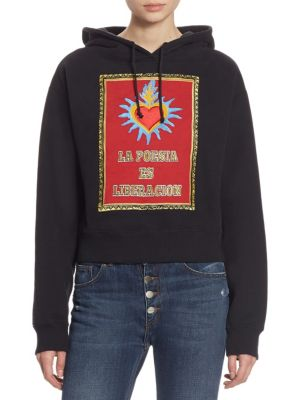 "Embroidered ""La Poesia"" Cotton Hoodie by EACH X OTHER"