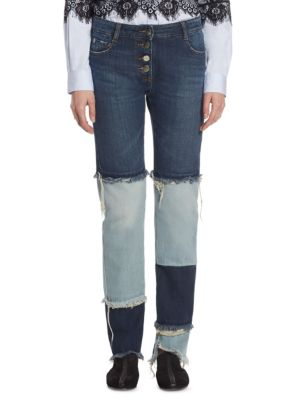 EACH X OTHER Patchwork Cotton Jeans in Two Tone