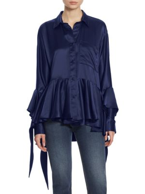 Ruffled Silk Cotton Shirt by EACH X OTHER