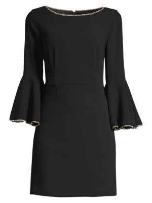 Bromely Crepe Full Bell-Sleeve Dress W/ Crystal Detail in Currant