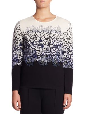 Printed Floral Sweater by Stizzoli, Plus Size