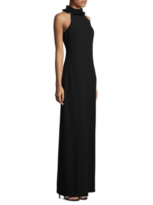 "Image of From the Nights on Broadway Collection. Classic crepe floor-length dress with ruffles at neck. High neck. Sleeveless. Concealed back zip. Lined. About 63"" from shoulder to hem. Polyester. Dry clean. Imported. Model shown is 5'10"" (177cm) wearing US size 4"