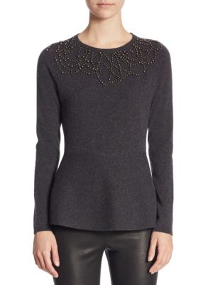 "Image of EXCLUSIVELY AT SAKS FIFTH AVENUE. Cashmere sweater finished with beaded neckline. Crewneck. Long sleeves. About 25"" from shoulder to hem. Cashmere. Hand wash. Imported. Model shown is 5'10"" (177cm) wearing size Small."