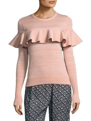 """Image of .On-trend heathered ruffled detail sweater. Roundneck. Long sleeves. Pullover style. Ribbed cuffs and hem. About 24"""" from shoulder to hem. Cotton. Dry clean. Imported. Model shown is 5'10"""" (177cm) wearing size Small."""