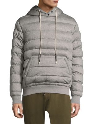 MOSTLY HEARD RARELY SEEN Quilted Hoodie Sweater in Grey