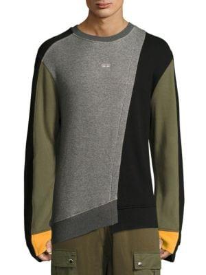 MOSTLY HEARD RARELY SEEN Mixed-Media Asymmetric Crewneck Sweatshirt in Grey