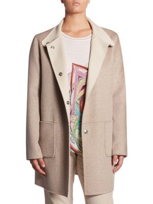 """Image of Leisure wool-blend reversible long sleeves jacket. Stand collar. Long sleeves. Front snap closure. Front patch pockets. About 34"""" from shoulder to hem. Wool/cashmere. Dry clean. Imported. Model shown is 5'10"""" (177cm) wearing US size 4."""