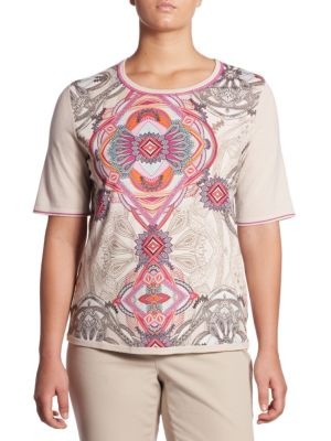 Regular-Fit Paisley Print Wool Tee by Basler, Plus Size