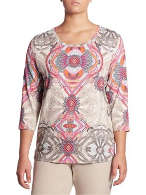 Paisley Print Regular-Fit Tee by Basler, Plus Size