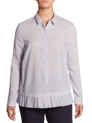 """Image of Long sleeves blouse featuring stripes and pleats. Point collar. Long sleeves. Concealed button front. Pleated detail at cuffs and hem. About 26"""" from shoulder to hem. Viscose/cotton/polyamid. Hand wash. Imported."""