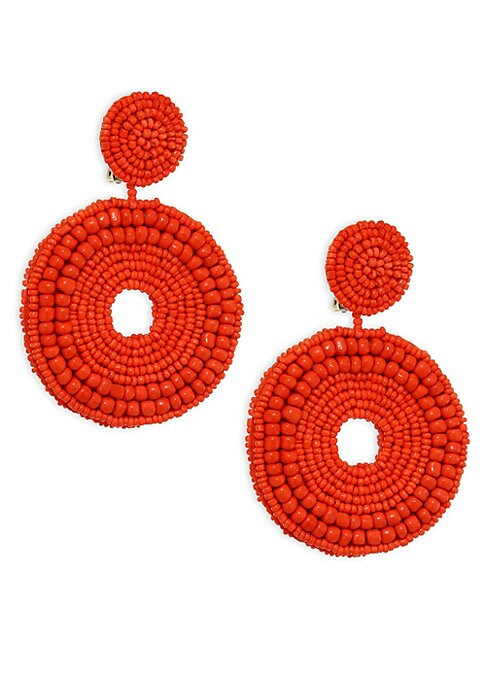 """Image of Boho-chic clip-on earring with bright beaded circles. Resin. Clip-on back. Imported. SIZE. Drop, about 3.5""""."""