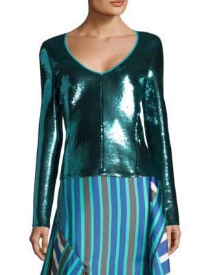Long-Sleeve Sequined Top by Diane von Furstenberg
