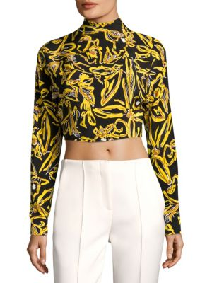 Long-Sleeve Silk Cropped Top by Diane von Furstenberg