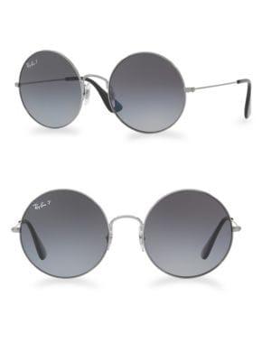 Ja-Jo 55Mmmirrored Round Sunglasses, Grey