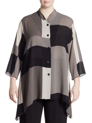 Blocks Georgette Side Fall Blouse by Caroline Rose