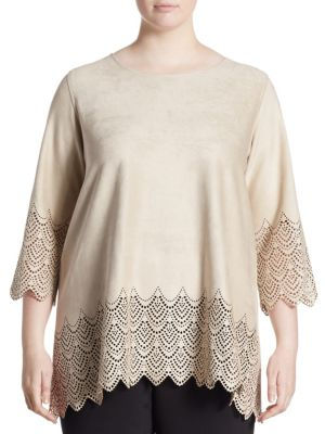 Laser-Cut Faux Suede Tunic by Caroline Rose