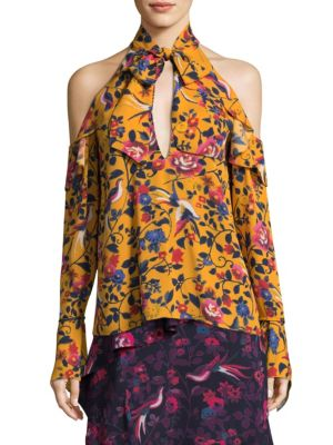 Adrienne Kimono Floral Silk Top by Tanya Taylor