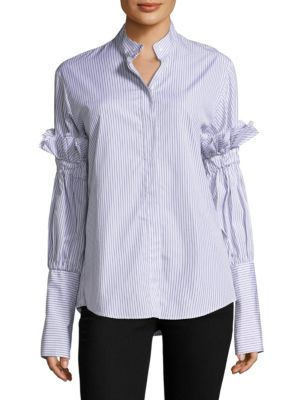 You Change the World Striped Cotton Button-Down Shirt by MAGGIE MARILYN